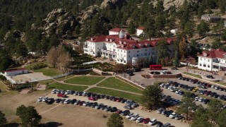 DX0001_001959 - 5.7K stock footage aerial video of a view of the historic Stanley Hotel in Estes Park, Colorado