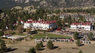 DX0001_001960 - 5.7K stock footage aerial video of ascending with a view of the historic Stanley Hotel in Estes Park, Colorado