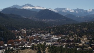 DX0001_001972 - 5.7K stock footage aerial video of the Rocky Mountains and the mountain town of Estes Park, Colorado