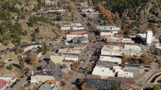 DX0001_001986 - 5.7K stock footage aerial video of flying by shops lining the road through Estes Park, Colorado