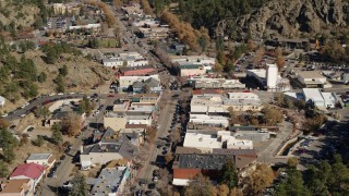 DX0001_001991 - 5.7K stock footage aerial video stationary view of shops on road through Estes Park, Colorado