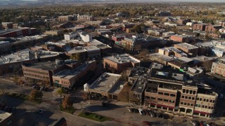 DX0001_002013 - 5.7K stock footage aerial video orbit brick office buildings and shops in Fort Collins, Colorado
