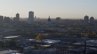 DX0001_002088 - 5.7K stock footage aerial video of a domed cathedral at sunrise in Downtown Minneapolis, Minnesota