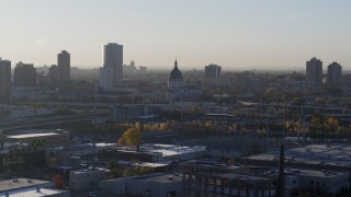 DX0001_002089 - 5.7K stock footage aerial video of the domed cathedral at sunrise in Downtown Minneapolis, Minnesota