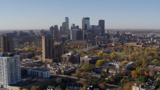 DX0001_002112 - 5.7K stock footage aerial video of a view of city's skyline at sunrise in Downtown Minneapolis, Minnesota