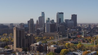DX0001_002124 - 5.7K stock footage aerial video of a view of skyline seen from residential area in Downtown Minneapolis, Minnesota
