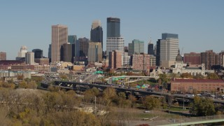 DX0001_002177 - 5.7K stock footage aerial video of the I-394 freeway and the city skyline, Downtown Minneapolis, Minnesota