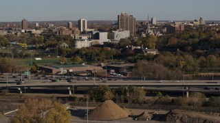DX0001_002187 - 5.7K stock footage aerial video track light traffic on the I-394 freeway, Minneapolis, Minnesota