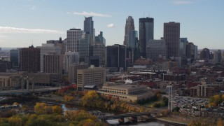 DX0001_002376 - 5.7K stock footage aerial video of towering skyscrapers of the city skyline, Downtown Minneapolis, Minnesota