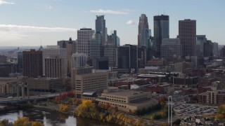 DX0001_002377 - 5.7K stock footage aerial video of flying by the towering skyscrapers of the city skyline, Downtown Minneapolis, Minnesota
