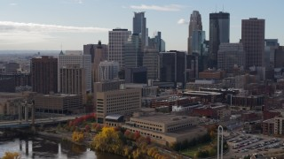 DX0001_002378 - 5.7K stock footage aerial video of a view of the towering skyscrapers of the city skyline, Downtown Minneapolis, Minnesota