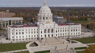 DX0001_002384 - 5.7K stock footage aerial video of a reverse view of the Minnesota State Capitol in Saint Paul, Minnesota