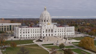 DX0001_002385 - 5.7K stock footage aerial video of flying away from the Minnesota State Capitol in Saint Paul, Minnesota