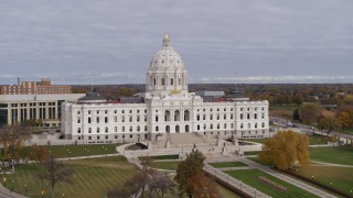 DX0001_002386 - 5.7K stock footage aerial video of flying by the Minnesota State Capitol in Saint Paul, Minnesota