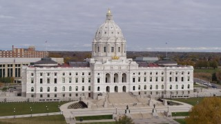 DX0001_002387 - 5.7K stock footage aerial video of approaching the Minnesota State Capitol in Saint Paul, Minnesota