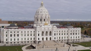DX0001_002388 - 5.7K stock footage aerial video fly away from the Minnesota State Capitol in Saint Paul, Minnesota