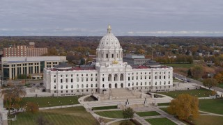 DX0001_002389 - 5.7K stock footage aerial video ascend to approach the Minnesota State Capitol in Saint Paul, Minnesota