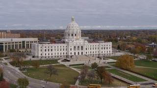 DX0001_002392 - 5.7K stock footage aerial video of a view of the Minnesota State Capitol in Saint Paul, Minnesota during descent