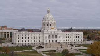 DX0001_002393 - 5.7K stock footage aerial video approach the Minnesota State Capitol in Saint Paul, Minnesota before ascent