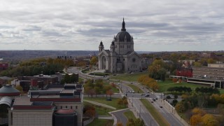 DX0001_002397 - 5.7K stock footage aerial video of the Cathedral of Saint Paul, Minnesota seen during descent