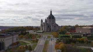 DX0001_002398 - 5.7K stock footage aerial video of flying by the Cathedral of Saint Paul, Minnesota during ascent