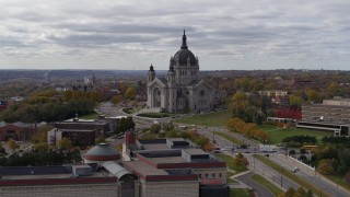 DX0001_002400 - 5.7K stock footage aerial video of the Cathedral of Saint Paul, Minnesota seen while descending