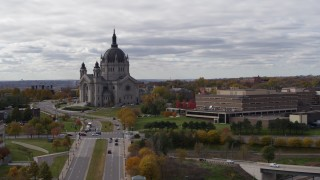 DX0001_002402 - 5.7K stock footage aerial video of flying by the Cathedral of Saint Paul and Saint Paul College, Minnesota