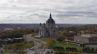 DX0001_002403 - 5.7K stock footage aerial video flyby the Cathedral of Saint Paul, Minnesota