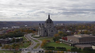 DX0001_002405 - 5.7K stock footage aerial video ascend and flyby the Cathedral of Saint Paul, Minnesota