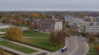 DX0001_002407 - 5.7K stock footage aerial video of approaching the Minnesota Judicial Center courthouse building in Saint Paul, Minnesota