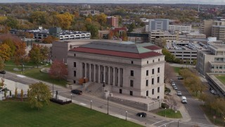 DX0001_002408 - 5.7K stock footage aerial video of an approach to the Minnesota Judicial Center courthouse building in Saint Paul, Minnesota