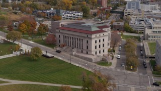 DX0001_002409 - 5.7K stock footage aerial video of reverse view of the Minnesota Judicial Center courthouse building in Saint Paul, Minnesota