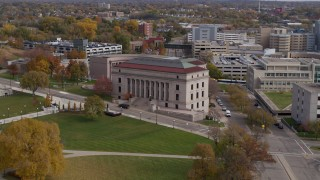 DX0001_002410 - 5.7K stock footage aerial video of flying by the front of the Minnesota Judicial Center courthouse building in Saint Paul, Minnesota