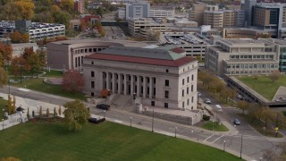 DX0001_002411 - 5.7K stock footage aerial video of approaching the front of the Minnesota Judicial Center courthouse building in Saint Paul, Minnesota