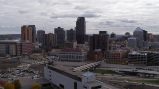 DX0001_002414 - 5.7K stock footage aerial video of flying by the city's downtown skyline in Downtown Saint Paul, Minnesota