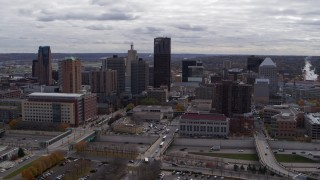 DX0001_002415 - 5.7K stock footage aerial video of descending with view of the city's downtown skyline in Downtown Saint Paul, Minnesota