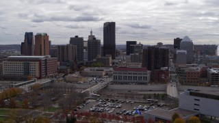 DX0001_002416 - 5.7K stock footage aerial video of passing by the city's downtown skyline in Downtown Saint Paul, Minnesota