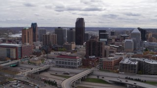 DX0001_002418 - 5.7K stock footage aerial video of a reverse view of the city's downtown skyline in Downtown Saint Paul, Minnesota