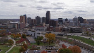 DX0001_002419 - 5.7K stock footage aerial video descend with a view of the city's downtown skyline in Downtown Saint Paul, Minnesota
