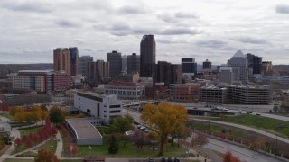 DX0001_002420 - 5.7K stock footage aerial video approach the city's downtown skyline in Downtown Saint Paul, Minnesota