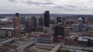 DX0001_002421 - 5.7K stock footage aerial video flyby the city's downtown skyline in Downtown Saint Paul, Minnesota