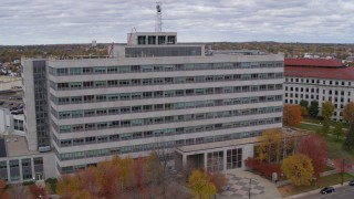 DX0001_002423 - 5.7K stock footage aerial video orbiting a government office building in Saint Paul, Minnesota