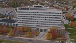DX0001_002424 - 5.7K stock footage aerial video of an orbit of a government office building in Saint Paul, Minnesota