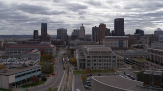 DX0001_002428 - 5.7K stock footage aerial video of the city's skyline seen from a wide street, Downtown Saint Paul, Minnesota
