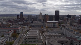 DX0001_002430 - 5.7K stock footage aerial video of a stationary view of the city skyline, Downtown Saint Paul, Minnesota