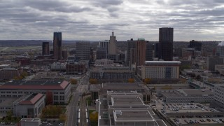 DX0001_002431 - 5.7K stock footage aerial video of flying by the city skyline, Downtown Saint Paul, Minnesota
