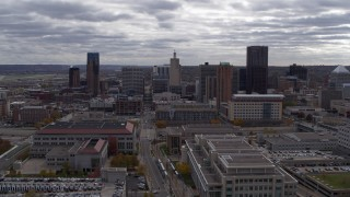 DX0001_002432 - 5.7K stock footage aerial video of a reverse view of the city skyline, Downtown Saint Paul, Minnesota