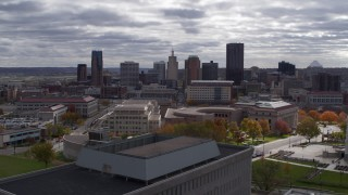 DX0001_002435 - 5.7K stock footage aerial video of flying by courthouse with view of the city skyline, Downtown Saint Paul, Minnesota