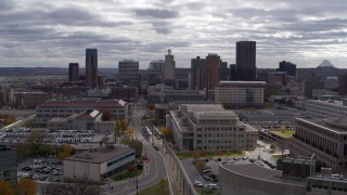 DX0001_002436 - 5.7K stock footage aerial video of the city skyline seen during descent, Downtown Saint Paul, Minnesota