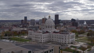 DX0001_002438 - 5.7K stock footage aerial video of the city skyline seen while passing by the state capitol building, Downtown Saint Paul, Minnesota